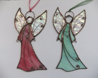 Stained glass Angel. Hanging suncatcher. Christmas angel. Conformation gift. Cristening gift. Christmas ornament.Guardian angel.