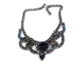 Vibrant Amethyst Givre Glass & AB Rhinestones Necklace with Rhodium Plating