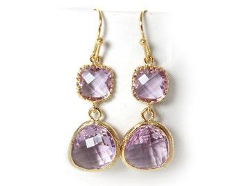 Lavender Earrings Lavender Double Earrings Lavender Bridesmaids Earrings Gold and Lavender Double Tier Earrings Radiant Orchid Earrings