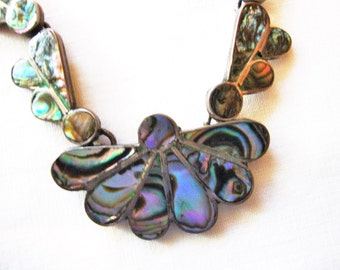 Silver and Abalone Necklace and Earrings, reduced price