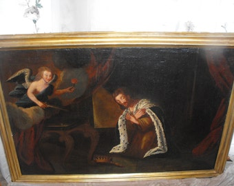 Large Antique Spanish Colonial Oil on Canvas Religious Painting King n Adoration