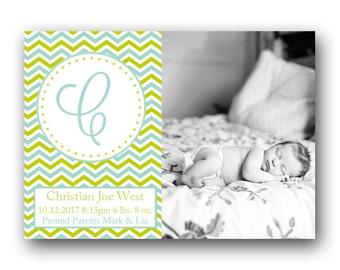 Chevron Birth Announcement - Custom Photo Baby Announcement - Printable - Blue Monogram