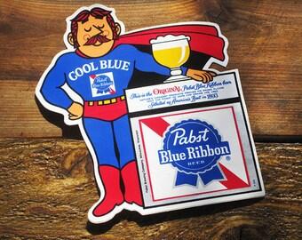 Vintage 70s PBR Cool Blue Pabst Blue Ribbon Beer Original Sticker LAST ONE