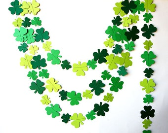 St Patricks Day decorations, Green Garland, St Patricks Day garland, Clover garland, Leaf garland, Irish party decor, Irish Wedding, KH-5004