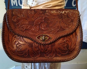 60s-70s Tooled Leather Bag