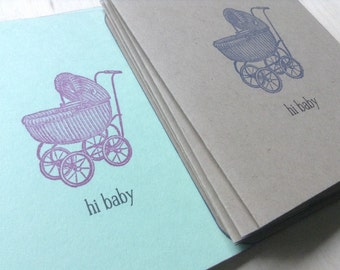 vintage inspired folded card set, baby carriage, baby, a2, stationery, thank you notes, set of 10