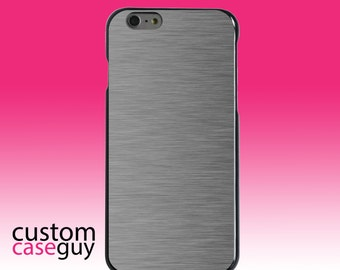 Hard Snap-On Case for Apple 5 5S SE 6 6S 7 Plus - CUSTOM Monogram - Any Colors - Grey Silver Stainless Steel Print