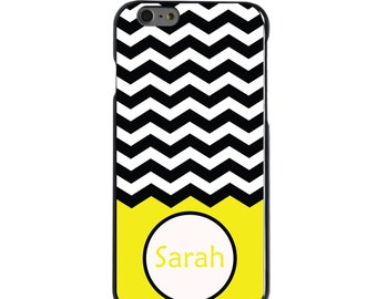Hard Snap-On Case for Apple 5 5S SE 6 6S 7 Plus - CUSTOM Monogram - Any Colors - Black White Chevron Yellow Name