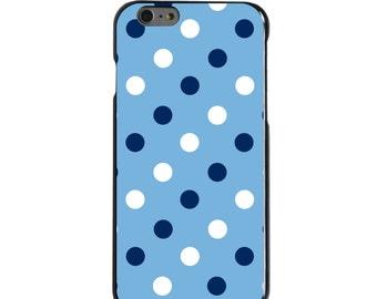 Hard Snap-On Case for Apple 5 5S SE 6 6S 7 Plus - CUSTOM Monogram - Any Colors - North Carolina UNC Tar Heels Color - Polka Dot Pattern