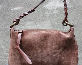 Vintage GAP Small Suede, Leather Brown Shoulder Bag