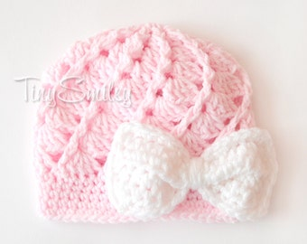 Bow Newborn Hat, Pink Bow Baby Beanie, Crochet Beanie, Newborn Bow Girl Hat, Baby Girl Outfit, Hospital Baby Girl Hat, Hats for Girls
