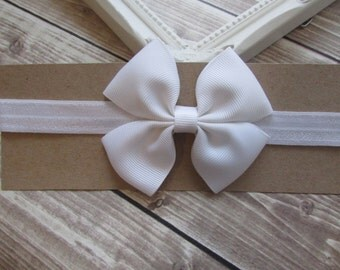 White Headband, White Bow, Girls Headband, Toddler Hair Bow, Bow Headband, Infant Headband