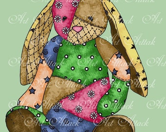 Quilted Cutie Series Bunny Digital Stamp by Cindy Ribet
