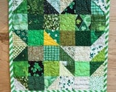 Vintage Inspired St. Patrick's Day Centerpiece, Quilted Shamrock Snack Mat / Mug Rug, Green and Beige Scrappy Patchwork Candle Mat