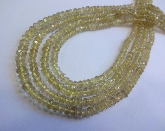 Natural Lemon Quartz micro faceted rondell beads size 4.5-5mm sold per 14-inch strand GW523