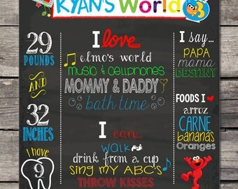 Elmo's World Birthday Chalkboard Poster PhotoProps or Keepsakes - Customized Printable File - ANY Birthday