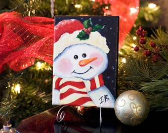 Snowman acrylic painting Christmas painting 5x7x.5 Original canvas wall art christmas in july Small snowman painting Canvas christmas art