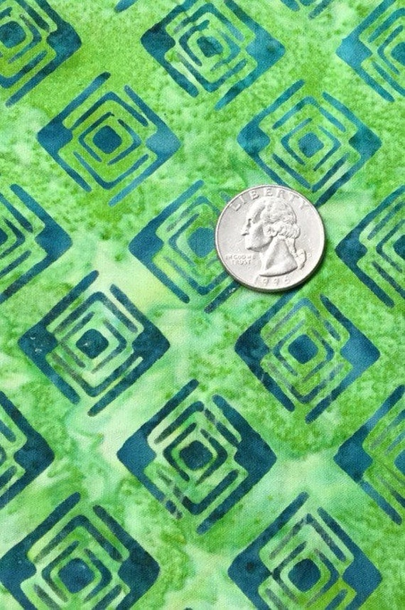 Green with blue batik cotton quilting fabric by galaxy for Galaxy quilt fabric