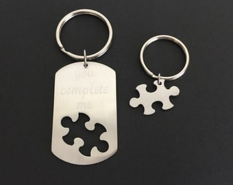 Two Personalized Puzzle Key Chains. Engraved Stainless Steel Puzzle Key Chains.You Complete Me Key Chains.You are My Missing Piece Key Chain