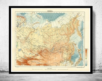 Old Map of Siberia 1918
