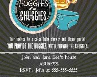 Huggies and Chuggies single side invitation