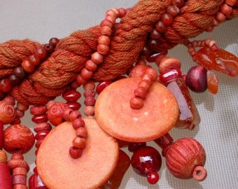 French vintage Large beads necklace with silk coral wooden agate gemstone glass engraved red orange sunset color