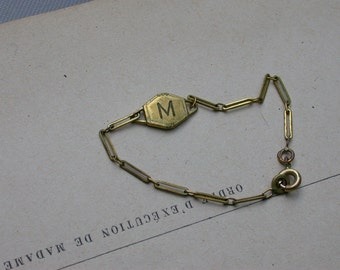 French antique gold plated bronze chain  name child name bracelet Initial letter M name bracelet