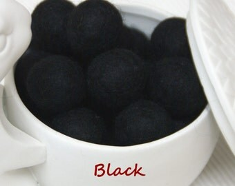 Felt Balls, Felt Beads, Pom Poms, Wool Beads , Color BLACK , Size 1.0 cm, 1.5 cm, 2.0 cm, 2.5 cm, 3.0 cm, 4.0 cm , 6cm