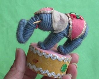 Vintage Stuffed Elephant Ornament TLC
