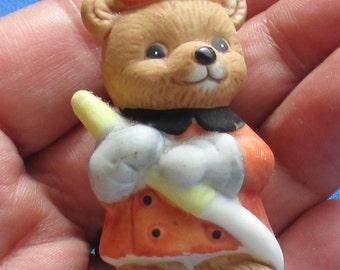 Retro Homco Miniature Bear Fireman Figurine