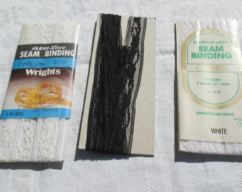 Lot Of Vintage White Black Lace Seam Binding
