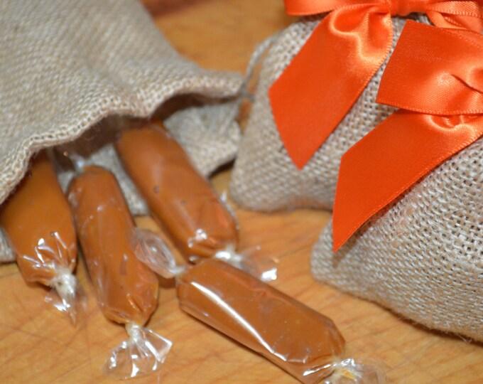 Artisan Fleur de Sel Caramel Favors, Burlap
