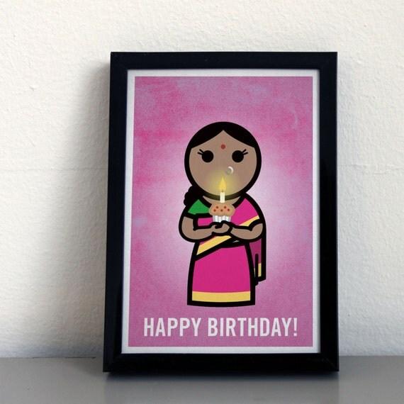 Happy Birthday Greeting Card GC007F Indian Lady