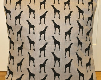 "Giraffe pillow cover 18"" grey, black, giraffe cushion cover"