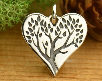 Sterling Silver Etched Tree Charm