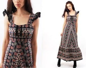 Boho Dress / Long Boh DRess / Gypsy Dress / Cotton Dress / Summer Dress / Maxi Dress Size XS