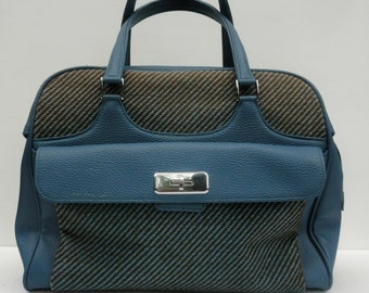 60s Samsonite Saturn Bag, Vintage 1960s Blue Carry On Tote Tweed Vinyl Luggage, Mid Century Luggage 1960 Overnight Weekend Travel Bag