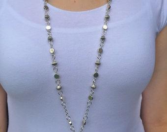 Sleek Silver Lanyard Necklace - Beaded Lanyard