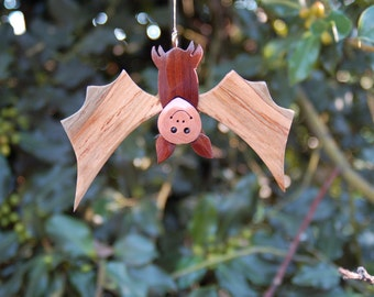 BAT CHRISTMAS ORNAMENT a whimsical, cheerful fellow with lots of personality!