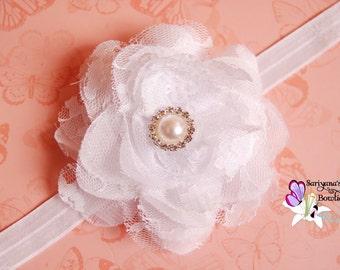 White Chiffon Lace Flower Pearl Rhinestone Headband, Flower Girl, Flower Clip - Baby Girl Toddler Woman - Vintage - SB-045a