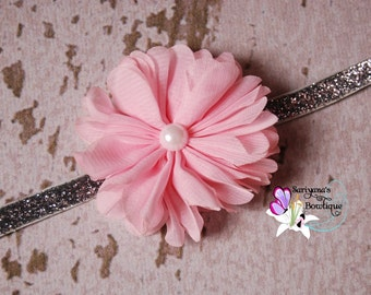 Pink White Silver Chiffon Twirl Pearl Glitter Headband, Single Flower Headband, Newborn Baby Girl Toddler - SB-080