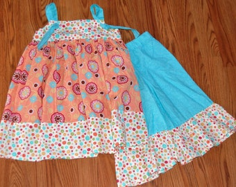 Coral and Teal Knot Dress With Bloomers