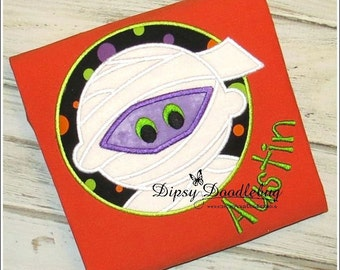 Halloween Mummy Circle Applique Design - Instant EMAIL With Download - for Embroidery Machines