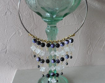 Purple and Black Agate Necklace with Clear Quartz Stars