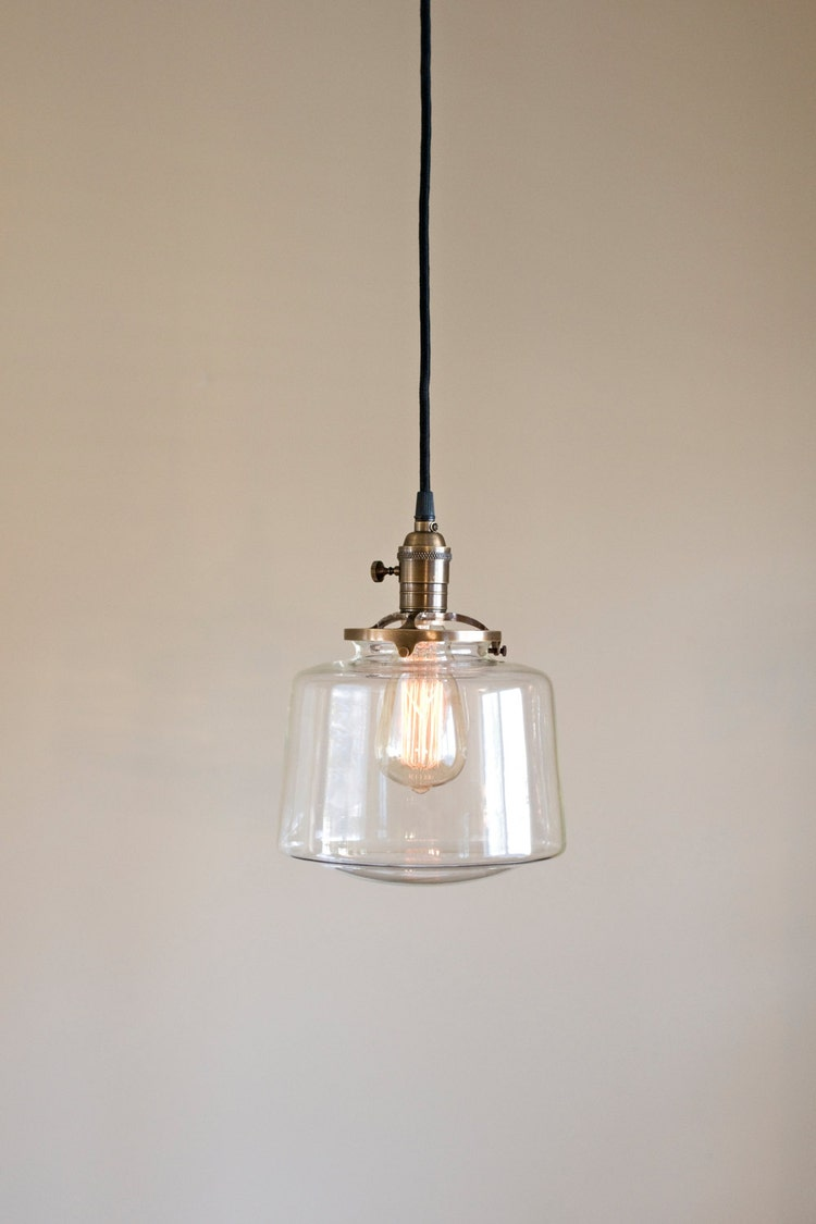 Schoolhouse Pendant Fixture Globe Clear Glass By