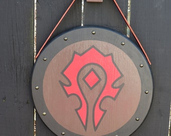 World of Warcraft - The Horde - 15 inch Shield with leather strap - Wall hanging - Wood hook - Metal decorative nails - Hand Painted