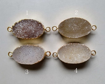 Natural Oval Druzy Pendant with Electroplating Gold Edge Double Bail Connector Link - B1071