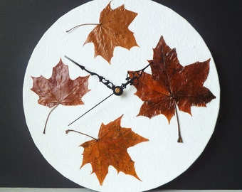 Leaves Wall Clock - Real Dried Pressed Autumn Fall Leaves Woodland Botanical Decoupage Clock