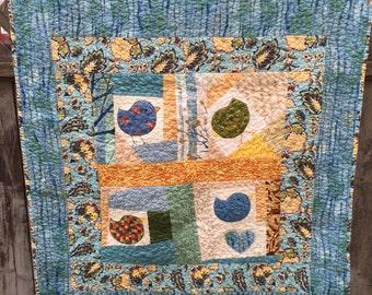 Teal Blue Bird Baby Quilt
