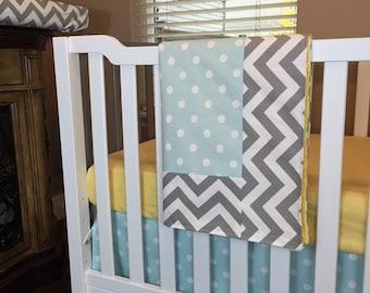 Nursery Bedding Crib Set Baby Bedding- Yellow/Aqua/Blue and Gray Chevron gender neutral boy girl
